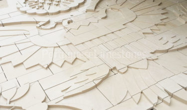 Beige limestone carved cladding