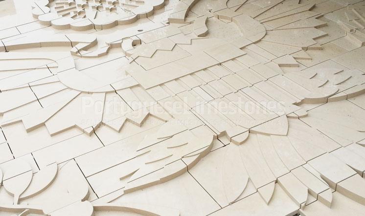 Beige limestone carved cladding