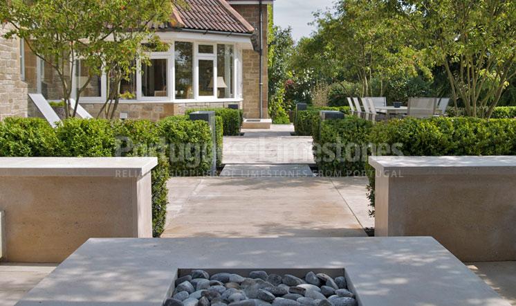 Portuguese limestone garden paving