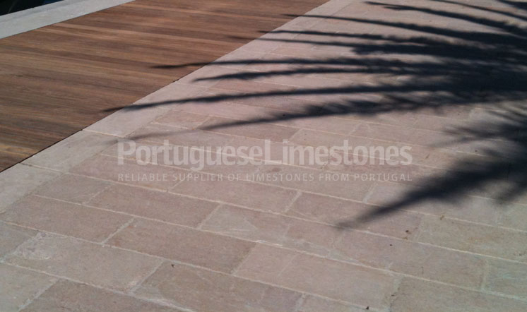 Beige limestone pavers