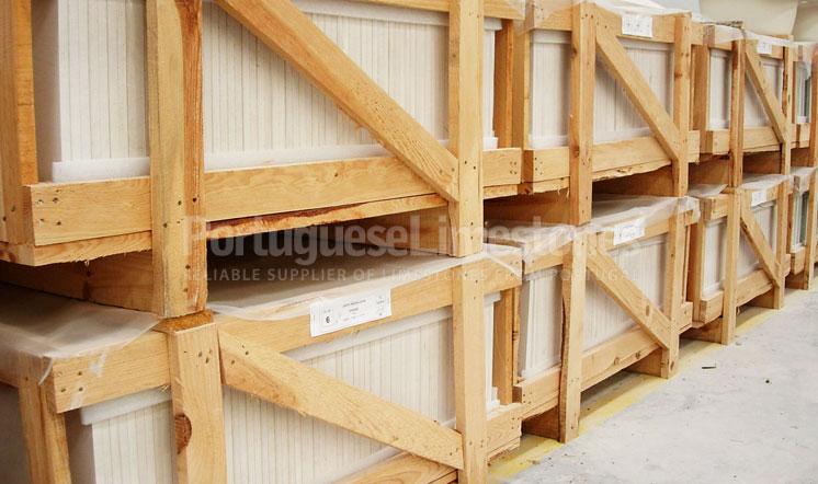Portuguese limestone tiles export crates