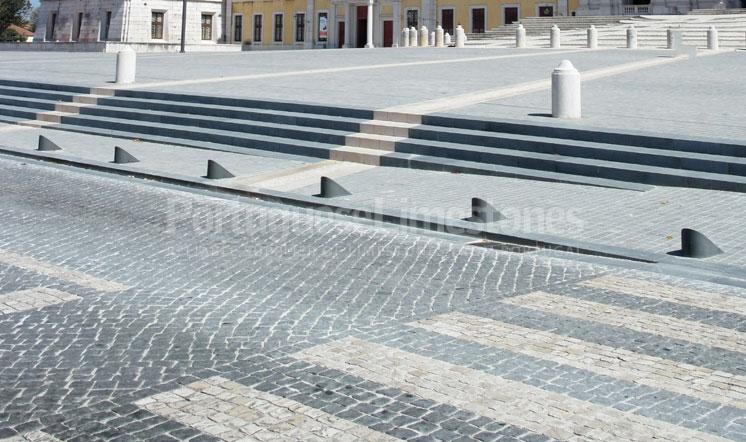 Portuguese limestone street paving